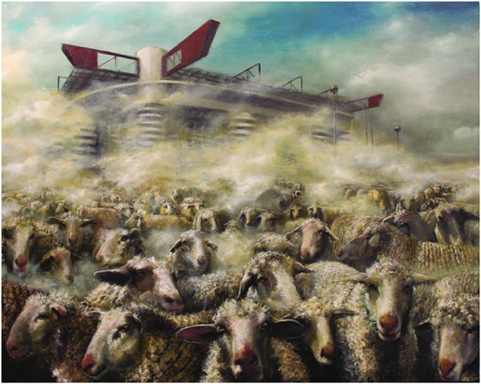 massimiliano alioto, pecore, 2012, olio su tela, 150x190-cm.