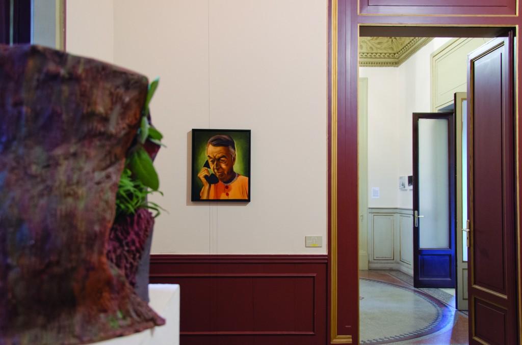Giulio Frigo-Tuuu...,2014,Olio e tempera all'uovo su tela,filo,53x43cm,Courtesy l'artista e Galleria Francesca Minini,Milano