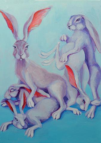 White rabbits-70x50cm-olio su tela